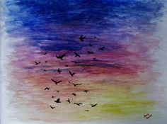 "Original Sunset with Birds Watercolor Painting - 9"" x 12"" - For Sale"