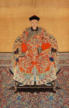 Chinese Imperial Ancestor Portrait, Color Inks on Silk, 19th Century A3BCB
