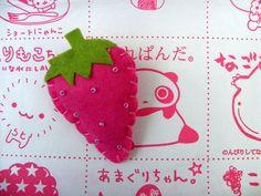 Strawberry felt brooch