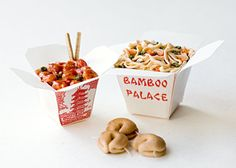 16 miniature  Chinese Takeout by NommyMiniatures on Etsy, $14.50