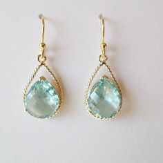 Aquamarine and Gold Rope Rim Chandelier Earrings