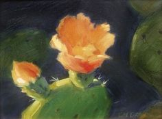 "Opuntia Basilaris, Torrey Pines SP by Catherine Grawin Oil ~ 11"" x 14"""