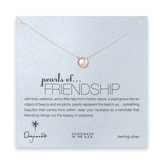 Dogeared pearls of friendship sterling silver necklace with pink pearl - $40