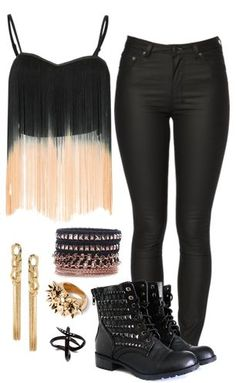 fringe shirt, leather pants and combat boots