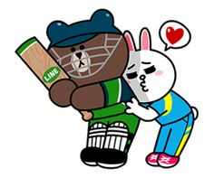 LINE character's Cricket Challenge! Cute Couple Cartoon, Cute Love Cartoons, Cony Brown, Brown Bear, Line Cony, Bunny And Bear, Sweet Love Quotes, Brown Line, Line Friends