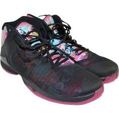new style bc2a8 ee13c BROOKLYN NETS 2015-16 GAME USED BLACK amp DYNAMIC PINK AIR JORDAN SUPER.