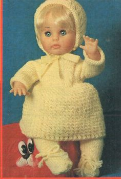 Clothes for dolls - yellow matinee outfit - pattern for First Love doll from Your Family, November (One of five outfits in this issue). Doll Patterns, Clothing Patterns, Print Patterns, Doll Outfits, Baby Born, Knitting Ideas, Vintage Dolls, Larger, Doll Clothes