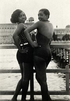 """I thought I'd share one of the first pictures that inspired me to create Vintage Black Glamour. The caption from Corbis on this circa 1920s picture reads """"Photo shows Thelma and Bonnie, called the """"Graceful Creoles,"""" posing coyly for the photographer at the Lido. The Lido is in Venice, Italy. And you thought you just loved """"Thelma and Louise"""" :)"""