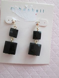MACY'S M. HASKELL DROP DANGLE BLACK STONE  EARRINGS FASHION JEWELRY, NWT