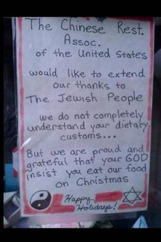 Chinese restaurant sign thanks Jews for eating there on Christmas