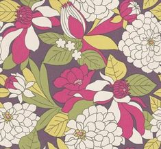 Miranda Damson (W0021/01) - Clarke & Clarke Wallpapers - A beautiful floral design in a jungle theme with a fresh use of colour. Showing in damson and green - other colour ways available. Please request a sample for true colour match. Paste-the-wall product.