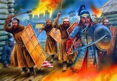 Mongol army breaking through a Russian town Asian History, Historical Pictures, Medieval Fantasy, Fantasy World, Middle Ages, Golden Horde, Illustration, Painting, Genghis Khan