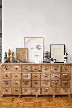 LIVINGROOM | vintage wooden drawers.
