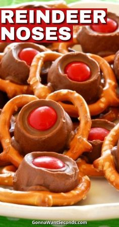 1 reviews · 10 minutes · Serves 12 · Bring fun to the holiday baking with this easy, three-ingredient, kid-friendly recipe for Reindeer Noses! Kids and grown-ups alike will love this festive treat! Best Dessert Recipes, Sweet Desserts, Holiday Recipes, Delicious Desserts, Holiday Meals, Christmas Recipes, Dessert Ideas, Drink Recipes, Yummy Recipes