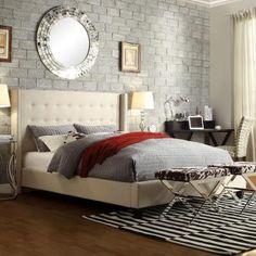 HomeSullivan Franklin Park Linen Queen-Size Bed in Beige