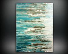 Arte pintura, pintura ORIGINAL, pintura de acrílico abstracto pintura costera, arte de la pared más grande, decoración hogar Costa 36 x 48