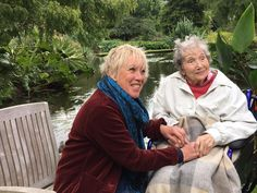 Beth Chatto, plantswoman and garden designer being interviewed by Carol Klein for BBC Gardener's World.  Beth Chatto is in her 94th year and still full of enthusiasm and passion for her plants and garden.