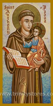 Anthony of Padua by Joan Cole Religious Images, Religious Icons, Religious Art, Catholic Art, Catholic Saints, Saint Anthony Of Padua, Miracle Prayer, Art Icon, Orthodox Icons