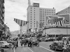 My parents met at the restaurant, Melody Lane, on the right of this photo.  They met about the time of this photo.  Hollywood & Vine ca. 1947