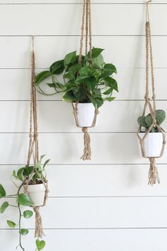 I love this project for the ease and simplicity of it. You could easily  whip out three of these babies in 30 minutes once you get the hang of it.  Now, before anyone gets too upset, I know this isn't actually macrame.  This is just my super simple way to make a jute plant hanger that mimics