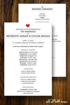 Ruby  Wedding Program by KPolkDesigns on Etsy, $1.15