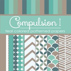 Compulsion I: Teal Colored Pattern Papers (FREE) by TeacherYanie.deviantart.com on @deviantART