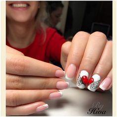French Nail Art, Nails Design, Manicure, Valentines, Beauty, Nail Bling, Finger Nails, Nail Bar, Valentine's Day Diy