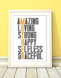 The perfect Mothers Day gift! Cute, colorful, sweet and a beautiful home decor piece!
