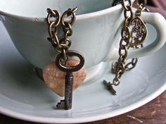 I have a key like this......rose quartz + vintage key
