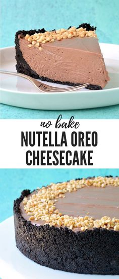 deliciously rich and creamy Nutella Oreo Cheesecake. This gorgeous no bake cheesecake - made without gelatine - boasts a crunchy Oreo crust and a creamy Nutella cheesecake filling all topped with roasted hazelnuts. Baked Cheesecake Recipe, No Bake Cheesecake, Homemade Cheesecake, Classic Cheesecake, Cheesecake Desserts, Pumpkin Cheesecake, Oreo Cheesecake Recept, Chocolate Cheesecake Recipes, Cheesecake Bites