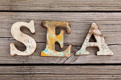 Beach Decor SEA Sign Vintage Style Nautical Wooden by by SEASTYLE, $43.00