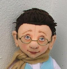boy with glasses 100% wool felt boy doll with real glasses by helenpriem