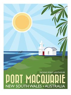 Port Macquarie, New South Wales, Australia - signed travel poster print Posters Australia, Australia Holidays, Port Macquarie, Tourism Poster, Vintage Travel Posters, Entertainment Center, Travel Photography, Poster Prints, Pictures