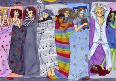 From Left to Right: Glinda, Christine, Sweeny Todd, Phantom, Joseph and his amazing technicolor blanket, Javert, Raoul, Enjolras and Elphaba. Pajama Party - Sleepy Time by *Starlene on deviantART