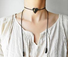 Black Wrap heart choker Leather bolo choker necklace with drop