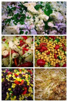 Blue Cheese & Tortellini, Hearts of Palm, Chickpea, Blackbean & Corn, and Cabbage Crunch. Cheese Tortellini, Blue Cheese, Cobb Salad, Cabbage, Palm, Hearts, Food, Essen, Cabbages