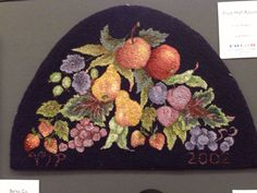"""Fruit Half Round"" Hooked by, Vivily Powers Designed by, Jane Flynn Note: I have this rug done in different colors."