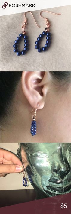 """😻 Handmade beaded teardrop loop navy blue earring THESE ARE $4 on Ⓜ3rc∇ri .You can also buy these on Ⓜ3rc∇ri & Tr∇d3sy Ⓜ3rc∇ri account: Lore_qq  Product Link: FREE SHIP!Handmade N… is $4 on Mercari! Use """"WFVCYZ"""" to sign up and get $2 off! https://item.mercari.com/gl/m869179525/ Tr∇d3sy account: Lore_qq *I can add this to any other purchase for $2 if you ask! 😻 Handmade elegant beaded teardrop loop navy blue earrings 😻 copper colored at the top Jewelry Earrings"""