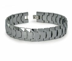 The perfect choice for the modern minded man. This designer tungsten bracelet for men features a highly polished link style in tungsten carbideï¾'s cool signature gunmetal grey hue. A fold-over clasp completes this 15mm by 8.5 inch menï¾'s tungsten bracelet.  Web Page: http://www.justmensrings.com/Mens-Tungsten-Bracelet-With-Classic-Link-Style_p_1177.html