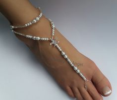 READY TO SHIP Starfish Pearl Rhinestone Bridal by JewelryByAngel, foot by Sinthetics