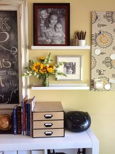 Homeschool room organization...love the shelves and flowers