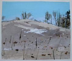 Little Snow Patch Original Landscape Collage Painting by Paintbox, $60.00, paintbox.etsy.com