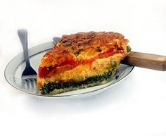 Magic Cheesy Egg, Pepper and Spinach Quiche/Pie. The pie magically forms three layers and its own top crust while baking. Creamy, gooey and delicious!