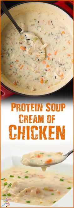 BariatricPal Protein Soup Cream Of Chicken There may be times before or after weight loss surgery when your doctor puts you on a liquid diet and you need a savory alternative to sweet protein shakes. Or you may just want a warm and filling quick meal whi Pureed Food Recipes, Soup Recipes, Diet Recipes, Healthy Recipes, Soft Food Recipes, Smoothie Recipes, Bariatric Eating, Bariatric Recipes, Bariatric Surgery