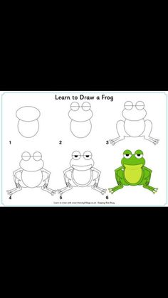Fun, printable step by step drawing lessons for kids! Learn how to draw animals, cars, trees and flowers and more with an easy, step by st. Easy Animal Drawings, 3d Drawings, Cartoon Drawings, Drawing Lessons For Kids, Art Lessons, Drawing Ideas, Painting & Drawing, Frog Drawing, Learn Drawing