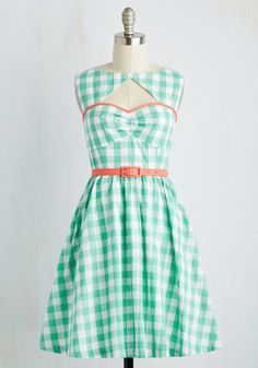 Cookout on the Town Dress by ModCloth - Green, White, Checkered / Gingham, Print, Daytime Party, Pinup, Vintage Inspired, Fit & Flare, Sleeveless, Spring, Woven, Better, Exclusives, Private Label, Nautical, SF Fit Shop