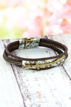 This pretty cross bracelet gives you a rustic chic look for your arm! Religious Jewelry, Rustic Chic, New Fashion, Arm, Fashion Jewelry, Ivory, Bracelets, Pretty, New Trends