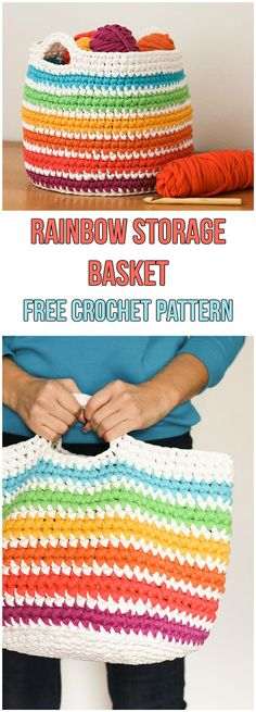 Rainbow Storage Basket Free Pattern