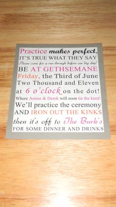 rehearsal dinner... so many 'other' invites to do but this would be cute if i had the time.. but i cant see that happening!
