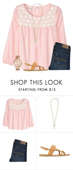 """First Day of Spring// Tag"" by ponyboysgirlfriend ❤ liked on Polyvore featuring H&M, Kendra Scott, Abercrombie & Fitch, Ancient Greek Sandals, Michael Kors, women's clothing, women, female, woman and misses"